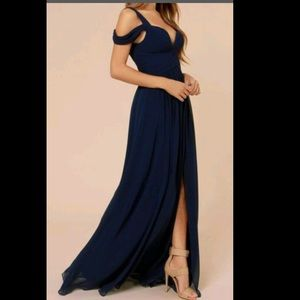 Navy Blue Gown with slit / maxi dress ✨NEW✨